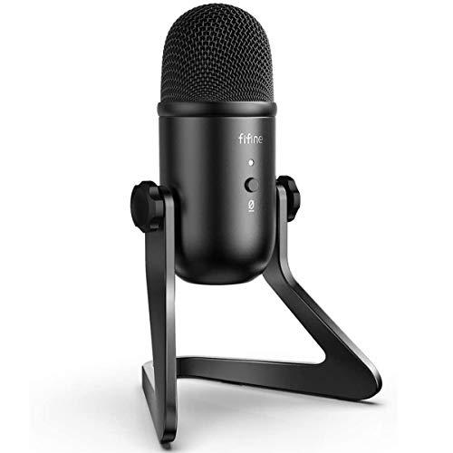 FIFINE USB-Mikrofon für die Aufzeichnung von Streaming auf PC und Mac, Kondensator-Computerspielmikrofon. Kopfhörerausgangs- und Lautstärkeregelung, Stummschalttaste für Gesang, YouTube - K678