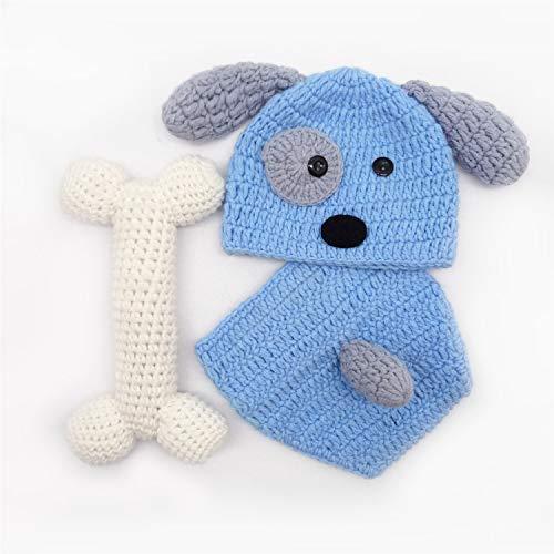 XCSSKG - Costume da neonato per fotografia, motivo a maglia, per cane+cappello