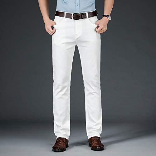 Vaqueros de Moda clásica Pantalones Vaqueros Rectos Blancos Nuevos De Otoño para Hombre, Pantalones Vaqueros...