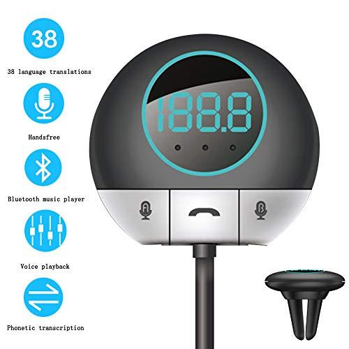 CZLABL Translator Auto Smart Bluetooth Mini 2-weg transformator, met 38 talen en Bluetooth, muziekspeler, geschikt voor zakenrijders Taxi