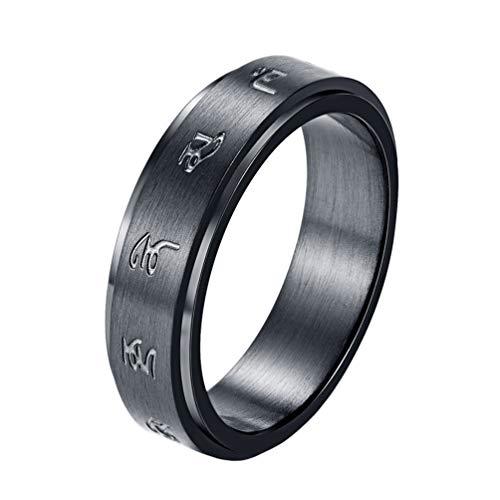 INRENG Men's Stainless Steel Black Mantra Spinner Lucky Ring 6MM Size 7