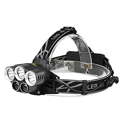 Fortune_90s Linterna de camping recargable USB para exteriores, 250000 lm, 6 modos, 5 bombillas, recargable por USB, impermeable, para camping, ciclismo, correr, pesca, cabeza para adultos (negro)
