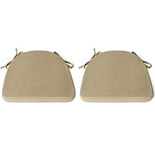 Shinnwa Chair Cushion with Ties for Dining Chairs [17 x 16.5 Inches] Non Slip Kitchen Dining Chair Pad and Seat Cushion with Machine Washable Cover Set of 2 - Natural Linen