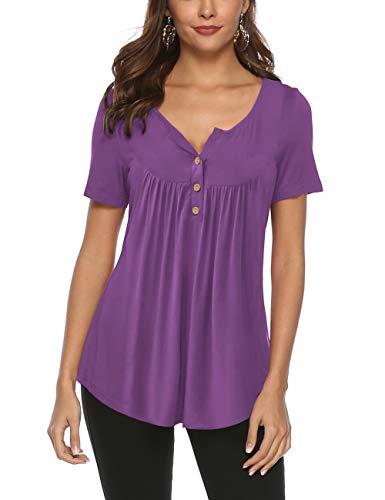 FeelinGirl Mujer Camisetas Sólido de Algodón Cuello con Botón Blusa Casual Tops Suave Violeta M(Talla 42)