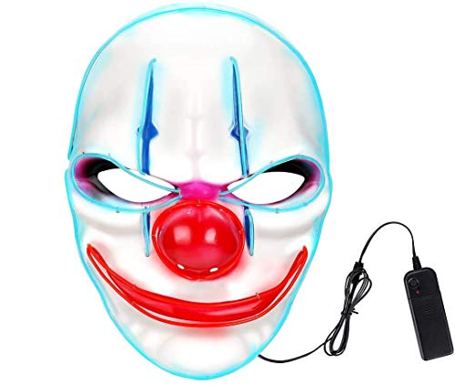 Máscara de payaso LED, máscara de Halloween, unisex, antifaz de boca grande, para cosplay o fiesta