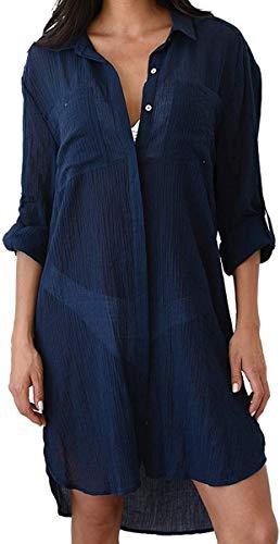 LATH.PIN Copricostumi da Bagno Camicetta Bianco Donna Bikini Cover Up Tshirt Elegante Abito da Bagno Chiffon Costume Mare Spiaggia Estate (Blu Scuro)