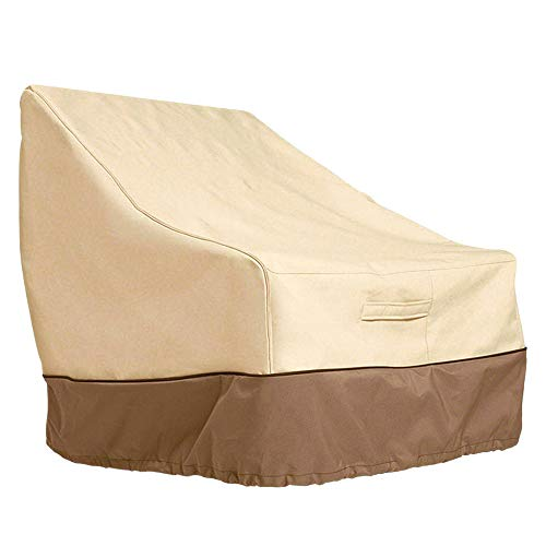 summerkimy High Back Chair Covers Waterproof Outdoor Garden Reclining Chair Seat Cover Heavy Duty Patio Lounge Deep Seat Cover Large Furniture Covers Lawn Beige Brown (79 * 89 * 97cm)
