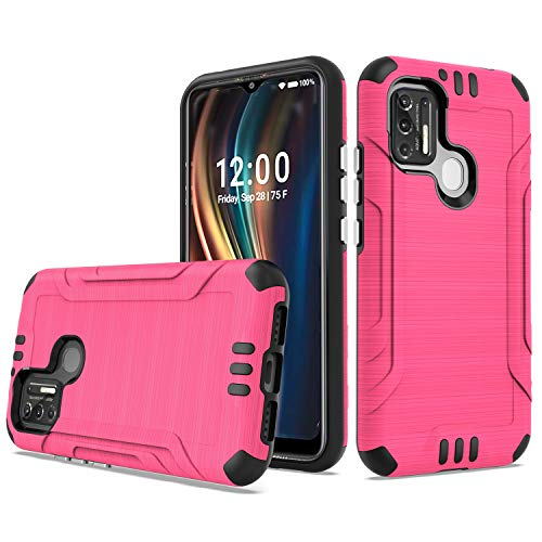 AmeriCase   Coolpad SUVA (CP3669AANB)   Phone Case [Brushed] Shockproof Protective Defender Cover for Boost Mobile Coolpad SUVA (Hot Pink)