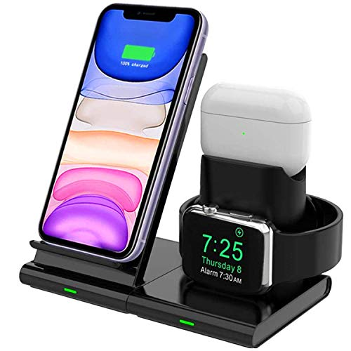 Hoidokly 3 in 1 Draadloze Oplader QI Fast Wireless Charger inductief laadstation compatibel met Apple Watch Series 1/2/3/4/5, AirPods 2/Pro, iPhone 11/11 Pro/11 Pro Max/XS/Xs Max/XR/X/8/8 Plus