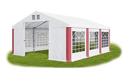Das Company Partyzelt 3x6m wasserdicht weiß-rot Zelt 560g/m² PVC Plane Hochwertigeszelt Gartenzelt Summer SD