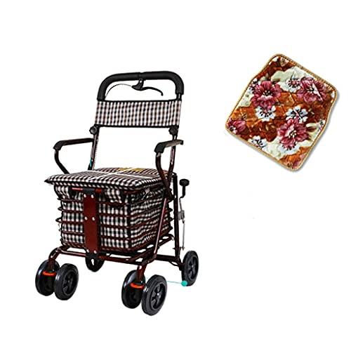 BSJZ Selbstfahrender Einkaufswagen, Old Scooter Klappbarer Einkaufswagen Sitz kann Vier Runden Lebensmitteleinkauf dauern Kann kleinen Wagen älteren Kinderwagen schi