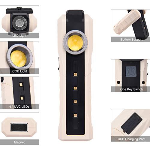 BACKTURE Lampada Disinfettante Ultravioletta Portatile, Lampada Sterilizzatrice UVC+COB+LED, Lampada di Disinfezione Germicida USB Ricaricabile, Tasso Antibatterico 99.9% per Casa/Hotel/Guardaroba