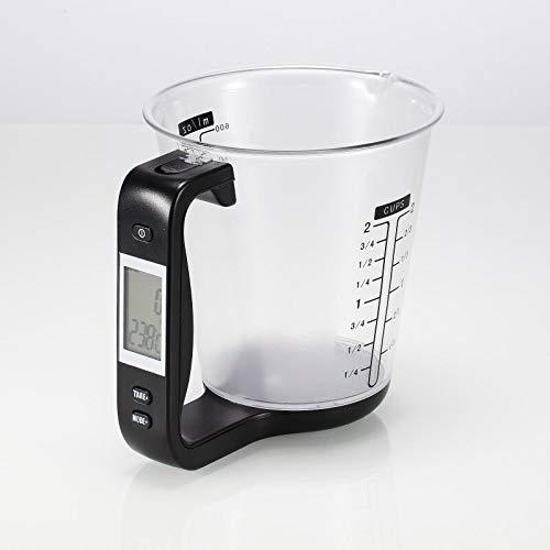 Digitaler Messbecher Waage, 0,1g genaue digital Küchenwaage mit Abnehmbarem Messbecher LCD Display Zuwiegefunktion 1kg Höchstlast, Elektronische Messbecherwaage Digitalwaage Haushaltswaage-Black