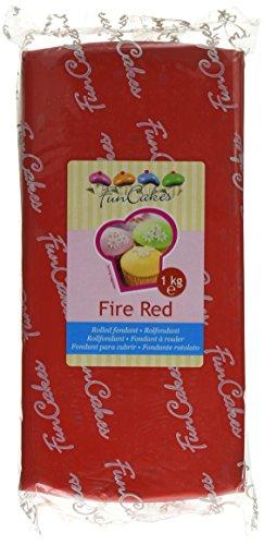 FunCakes Fondant Fire Red: Einfach zu Verwenden, Glatt, Elastisch, Weich und Schmeidig, Perfekt zum Dekorieren von Torten, Halal, Koscher und Glutenfrei. 1 kg