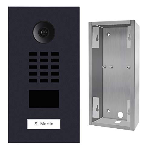 Doorbird D2101V-RAL7016 + SUP-D2101V IP Video-Türsprechanlage, RFID-Leser, inkl. Montagegehäuse, Schwarz