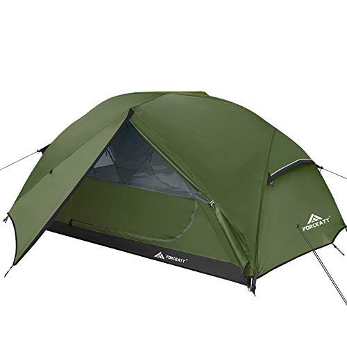 Forceatt Zelt 2-3 Personen Camping Zelt, 2 Doors Wasserdicht & Winddicht & Insektensicher 3-4 Saison Ultraleichte Rucksack Zelt für Trekking, Camping, Outdoor. (3 Personen Dunkelgrün)