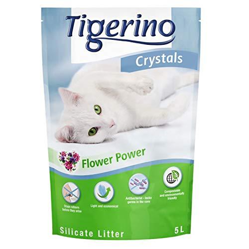 Tigerino Crystals Arena para Gatos con diseño de Flores - Super Pack: 6 x 5 litros