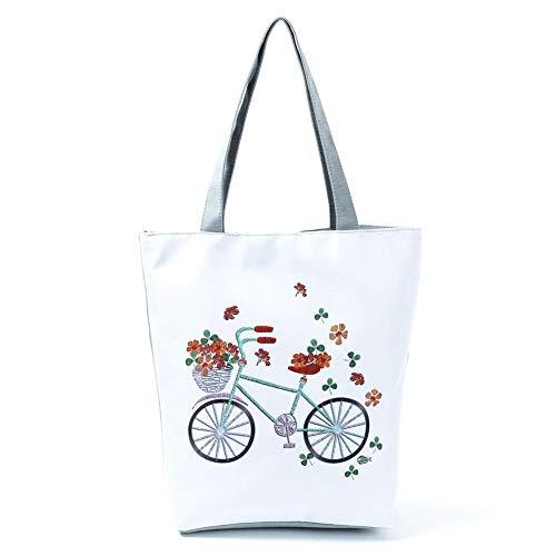 Bolsa de la compra de poliéster con patrón de flores para bicicleta, bolsa de hombro para mujer, una para la venta Bicicleta Y Flores