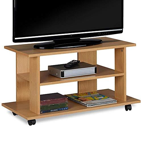 Bakaji Mobile TV in Legno MDF con 2 Ripiani Porta Console Videogiochi DVD e 4 Ruote Mobiletto Carrello Porta Televisore Design Moderno Dimensione 80 x 40 x 45 cm (Quercia)
