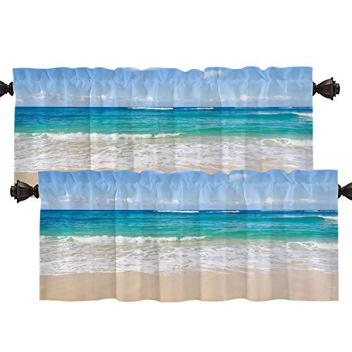 Batmerry Ocean Tropical Beach Kitchen Valances Half Window Curtain, Tropical Water Ocean Beach Sea Teal Blue Kitchen Valances for Windows Heat Insulated Valance for Decor Reducing the Light 52x18 Inch