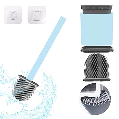 Senkora Escobilla WC Escobilla WC de Silicona con Soporte Limpieza Pared Adhesiva de Baño Higienica Flexible Plana Diseño de Secado Rápido Ergonomica Escobilla WC Colgada (Azul)