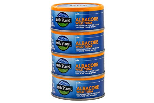 Wild Planet Albacore Wild Tuna, Sea Salt, Wildly Delicious - Pole & Line Caught, 5 Ounce(Pack of 4)