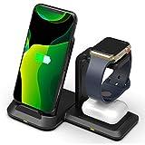 ASHLGQB Chargeur sans Fil Rapide 3 en 1 adapté pour iPhone 12 Mini Pro Maxand pour AirPods Pro et...
