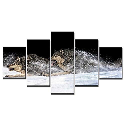 ZXYJJBCL Hand Drawn Wolf In The Snow Animal Fresh Look Color 5 Piece Wall Art Picture For Home Modern...
