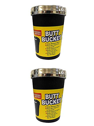 2 PK Butt Bucket Jumbo Ashtray with Chrome Cover - Black- Self Extinguishing Cigarette Cup - Portable for Car, Truck, RV, Or Office Desk Top (Large)