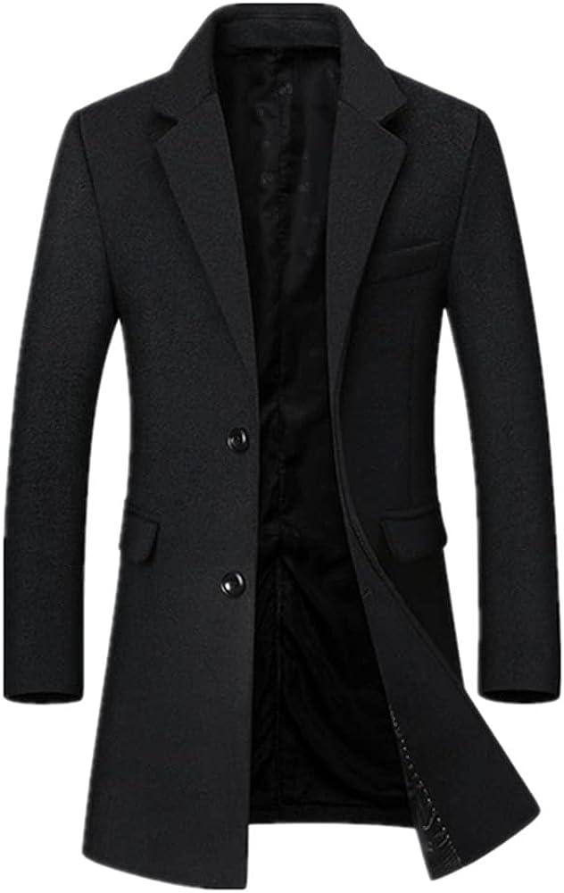 Autumn Winter Men Wool Blends Coats Color Middle Long Overcoat Casual Wool Coat