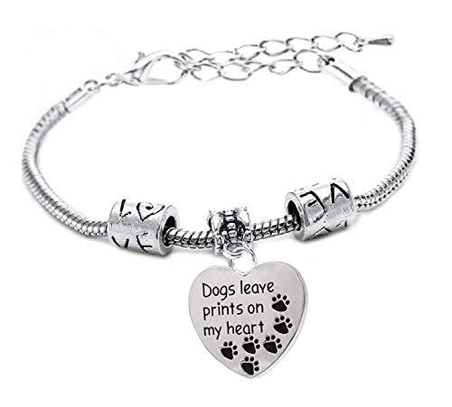 Inception Pro Infinite Bracciale - Dogs leave prints on my heart - Braccialetto - Animali - Cani - I cani lasciano le impronte nel mio cuore - Uomo - Ciondolo - Donna - Unisex - Argento