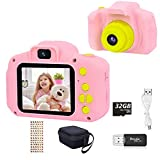 YunLone HaiGeng Cámara para Niños 12MP Selfie Cámara Digital 1080P HD Video Cámara Infantil 32GB TF Tarjeta, Estuche de Transporte, Batería Recargable 1200 mAh,2 Pulgadas, Regalos Juguete - Rosa
