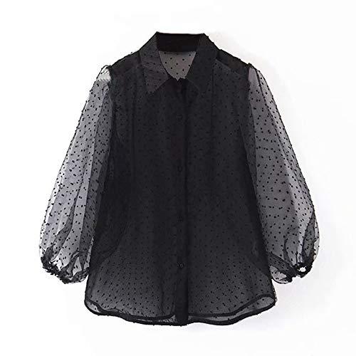 LFMDSY Dots Embroidery Women Elegante Organza Bluse Lantren Sleeve Schwarz Chic Top Lässig Umlegekragen Shirt L Schwarz