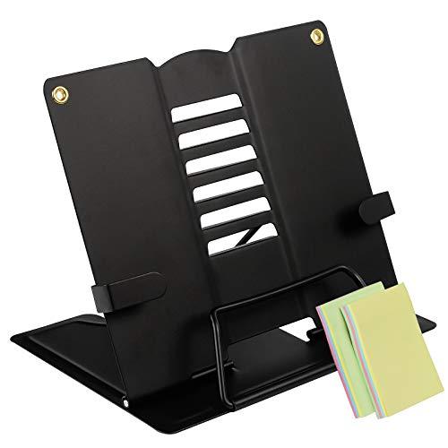 Qualsen Atril para Libros Metal, Sujeta Librosplegable, Forro Libros ajustablesde 6 ángulos, Soporte de Libro Plegable, Negro