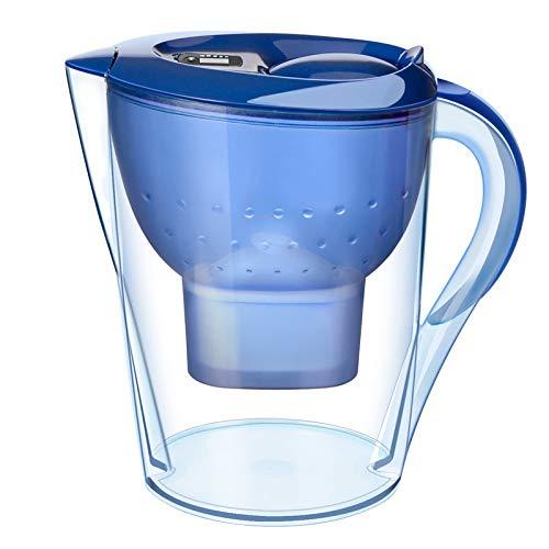 LYDIANZI Purificador De Agua Copas De Carbón Activado Filtro De Agua Jarra Eliminación De Olores Óxido Cloro Sin BPA Hervidor De Cocina De 3,5 litros(Color:Azul)