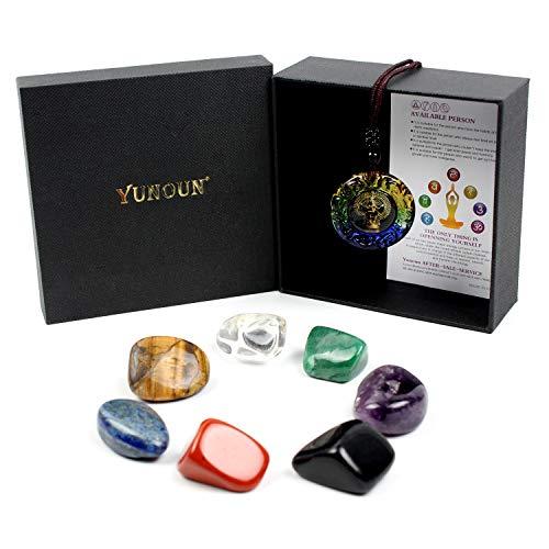 Yunoun Chakra Stones Healing Crystals,Crystal Therapy, Meditation, Reiki - 7 Chakra Set