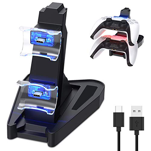 Dual Charge PS5 Controller Charger - Auarte for Playstation 5 DualSense Controller Charger Charging Dock Station Stand, Dual USB Fast Charging Station & LED Indicator for Sony PS5 DualSense Controller