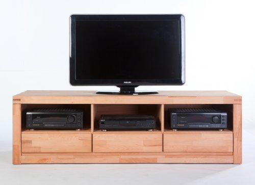 TV Lowboard XL Sylt Kernbuche massiv mit Ablagefach und 3 Schubkästen Oberfläche geölt