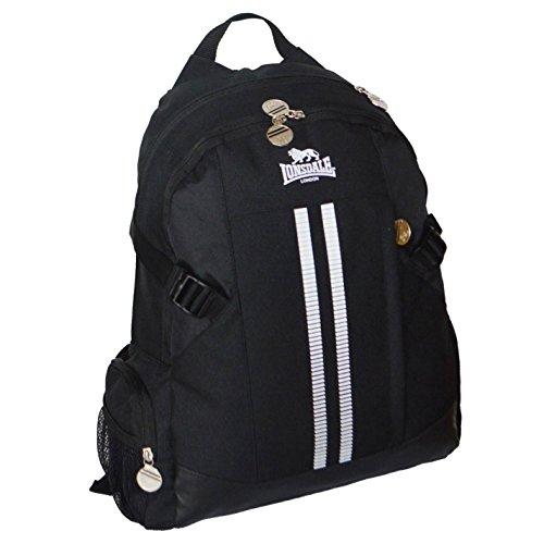 Lonsdale 2Stripe Sport Rucksack schwarz/weiß Rucksack Sporttasche Gymbag Kitbag, schwarz / weiß