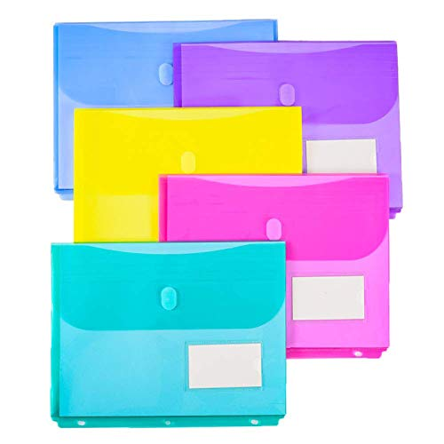 10 Pack Poly Binder Pocket with 1-Inch Gusset, Side Loading,Letter Size, Pocket Folders Poly Envelopes Clear Document Folders for 3 Ring Binder with Label Pocket & Velcro for School Home Office