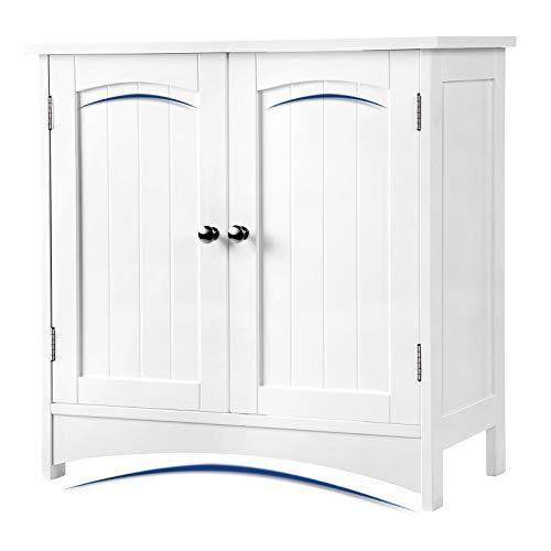 VASAGLE Waschbeckenunterschrank Unterschrank Badezimmerschrank 2 Türen mit Verstellbarer Einlegeboden Holz, weiß, 60 x 60 x 30 cm (B x H x T), BBC01WT
