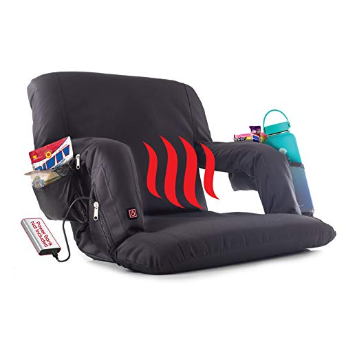 POP Design The Original Hot Seat, Heated Stadium Bleacher Seat, Reclining Back and Arm Support, Thick Cushion, 4 Storage Pockets Plus Cup Holder, Battery Pack Not Included (1 Pack)