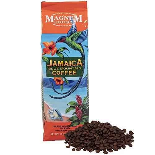 Jamaican Blue Mountain Coffee Blend, Whole Bean, 1 Lb Bag - Medium Roast, Fresh Strong Arabica Coffee - Rich And Smooth Flavor - Magnum Exotics