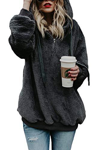 COCOLEGGINGS Womens Oversized Sherpa Hoodie 1/4 Zip Sweatshirt Dark Grey L