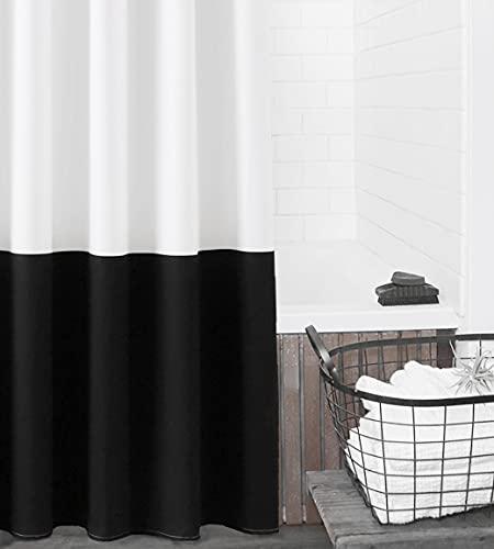 "Felisa Canvas Cotton Shower Curtain,Black and White Color Block Farmhouse Shower Curtain for Bathroom,Machine Washable,72""x72"""