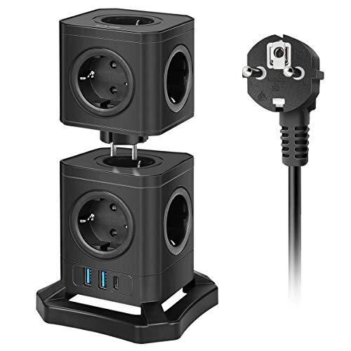 BEVA Regleta Enchufe Vertical , Enchufes de Carga Rápida Type-c(30W) 2 USB Inteligentes y 9 Tomas de CA, Regleta con Protección contra Sobrecargas Cable de 2M, 2500W/10A