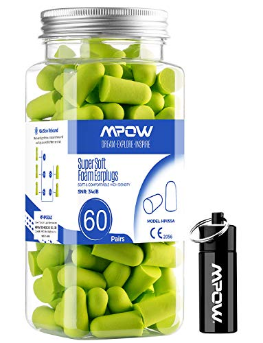 Mpow Super Soft Sleeping Earplugs 60 Pairs with a Carry Case, 32dB NRR Noise Reduction Ear Plugs, Foam Earplugs for Sleeping, Working, Studying, Mowing, Shooting-Grass Green