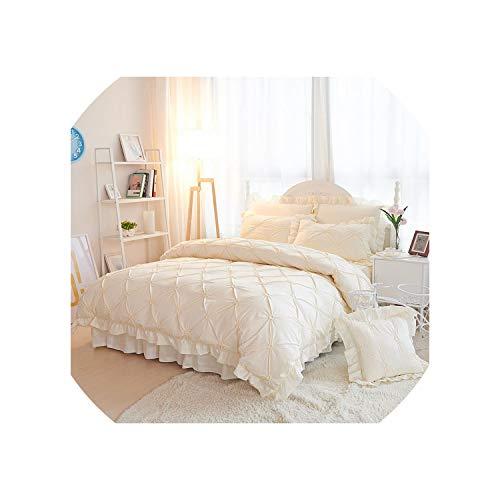 Groen Plaid 4/6 stks Handgemaakte Prinses Quilt/Dekbedovertrek Bruiloft 100% Katoen Ruches Bedsprei Rokken Bedkleding Beddengoed Sets Beige/Blauw