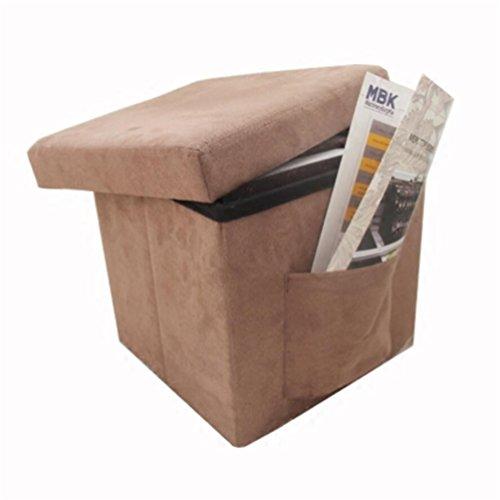 Tabouret Boîte De Rangement Pliable Charge Maximale 150 Kg Coton Fibre De Polyester Coffre De Rangement,Jouets Pouf De Rangement 30.0*30.0*30.0 Cm (Brown )