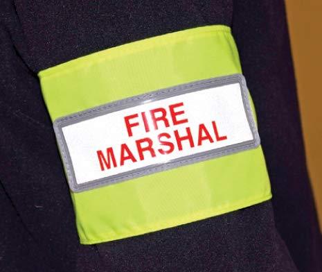 Znaki przeciwpożarowe - odblaskowa opaska na rękę z motywem ognia marszałkowskiego - żółty PCW o wysokiej widoczności